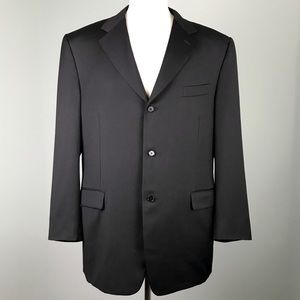 Canali for Bernini Black Virgin Wool Blazer Jacket